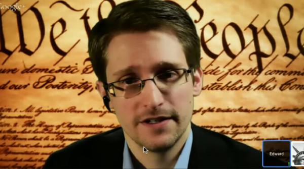 Edward Snowden in einer Live-Schaltung auf der Konferenz SXSW in Austin, Texas.