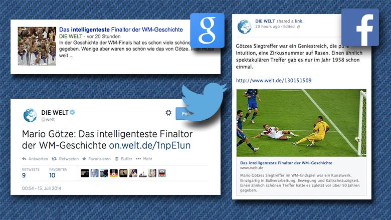 Die berühmt-berüchtigten Snippets. © Welt.de, Facebook, Twitter, Google, Montage: Jakob Steinschaden