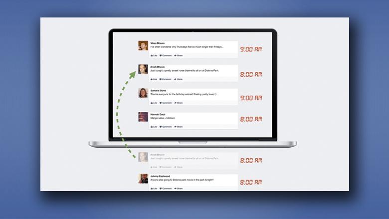 Alte Posts tauchen wieder oben auf - so genanntes Story Bumping. © Facebook, Montage Jakob Steinschaden