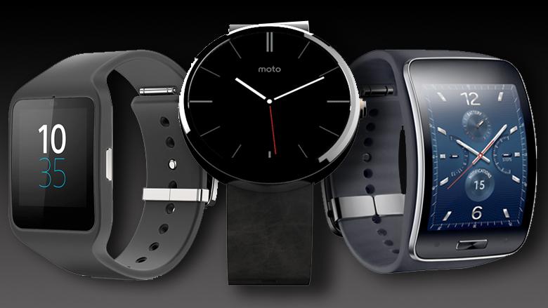 Die SmartWatch 3 von Sony, Moto 360 von Motorola und Samsung Gear S. © Sony, Motorola, Samsung.