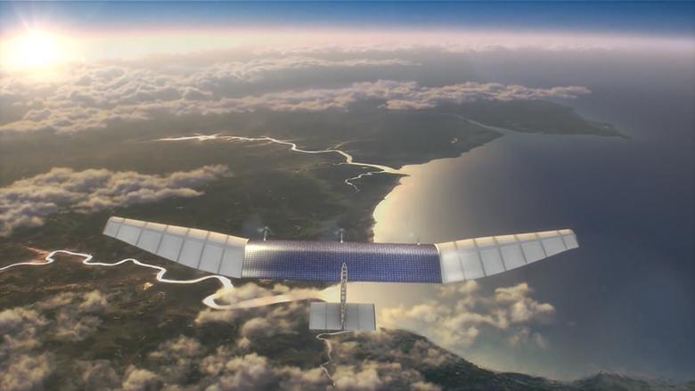Riesiege Drohnen sollen Internet per Laser auf die Erde darniederbeamen. © Facebook