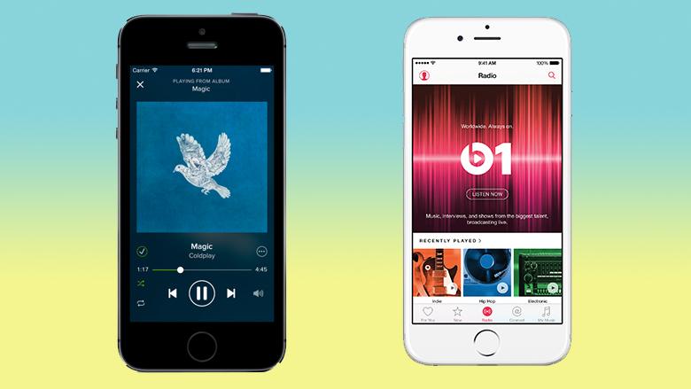 Nicht nur auf iPhones, sondern auch auf Androiden verfügbar. © Apple, Spotify, Montage: J. Steinschaden